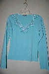 "MBADG #18-285  ""Body Central Blue One Of A Kind Fancy Beaded Top"""