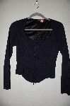 "MBADG #52-417  ""Corina Fancy Black Zipper Front Stretch Top"""