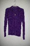"MBADG #52-4008  ""Boston Proper Fancy Purple Chenille Zipper Front Cardigan"""