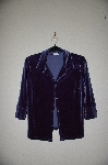 "MBADG #52-404  ""Boston Proper Fancy Blue Velvet Button Front Top"""