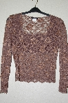 "+MBADG #52-394  ""Boston Proper Fancy Brown Lace Top"""