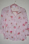"MBADG #52-315  ""Together Sheer Pink Floral Button Front Shirt"""