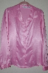 "MBADG #52-280  ""Jaclyn Smith Classic Pink Satin Button Front Shirt"""