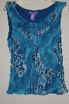 "MBADG #52-228  ""Newsworthy Blue Antique Floral Print Tank"""