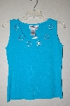 "MBADG #52-225B  ""Joseph A. TQ Blue Knit Tank With Hearts & Rhinestones"""