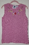 "+MBADG #52-187  ""Storybook Knits Limited Edition Mauve Floral Embroidered Tank"""