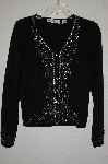 "MBADG #52-123  ""Marisa Christina Fancy Black Embelished Button Front Sweater"""