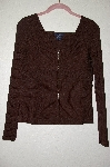 "MBADG #52-431  ""Boston Proper Brown Fancy Knit Zipper Front Top"""
