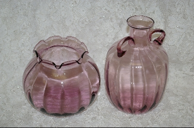 **MBA #61-0001    2 Piece Violet  Colored Glass Vase & Pitcher Set