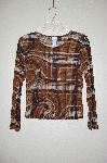 "MBADG #31-234  ""Diamond's USA Fancy Brown Plaid Stretch Top"""