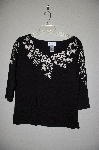 "MBADG #31-249  ""Linea Black Floral Embroidered V-Neck Sweater"""