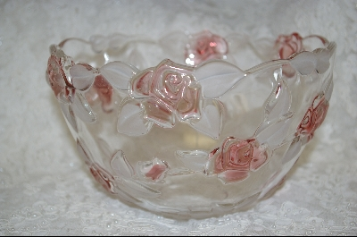 "**MBA #S-LCGB   ""Mikasa Walther Carmon Rose Large Clear Glass Rose Bowl"