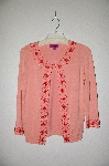 "MBADG #31-307  ""Lace Fancy Peach Knit Embelished Cardigan"""
