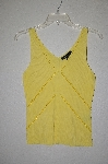 "MBADG #31-275  ""C'est City Fancy Yellow Knit One Of A King Hand Beaded Tank"""
