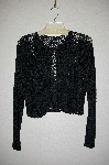 "MBADG #31-252  ""Venini Fancy Black Crochet 1 Button Cardigan"""