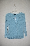 "MBADG #31-466   ""C'est City Fancy Blue Knit Top With Lace Trim"""