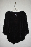"MBADG #31-428  ""Citiknits Black Split Sleve Lettuce V Hem Top"""