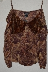 "MBADG #31-417  ""Express Fancy Pattern Brown Stretch Top"""