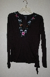 "MBADG #31-517   ""Daisy Fuentes Black Light Weight Embroidered Top"""