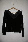 "MBADG #31-565  ""Boston Proper Black Velvet Top With Fancy Lace Neckline"""