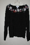 "MBADG #3-015  ""Victor Costa Floral Embelished Black Sweater"""