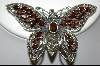 **MBA #7618  Marcasite & Garnet Sterling Butterfly Pin/Pendant