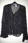 "MBADG #3-041  ""Newport News Black Silk Beaded Cardigan"""