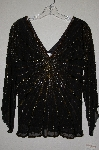 "MBADG #3-075  ""Papell Studio Fancy Black Silk Hand Beaded Top"""