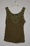 "MBADG #23-506  ""Cha Cha Vente Fancy Green Crochet & Gemstone Bead Embelished TanK"""