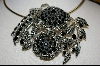 **MBA #7490   Large Black Onyx & Sterling Flower Pin/Pendant