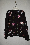 "MBADG #28-435  ""Blaine Trump Black Ribbon Floral Button Front Sweater"""