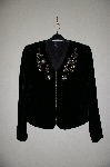 "**MBADG #28-483  ""Boston Proper Fancy Floral Embelished Black Velvet Jacket"""