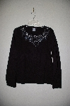 "MBADG #26-039  ""Blaine Trump Black Crew Neck Bead & Jewel Sweater"""