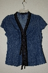 "MBADG #26-158  ""Boston Proper Denim Ribbon Trim Blouse"""