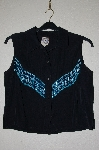 "MBADG #11-119  ""Desert West By Sherry Holt One Of A Kind Black Hand Beaded Western Shirt"""
