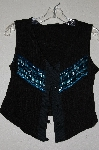 "MBADG #11-075  ""Roughrider Black One Of A Kind Fancy Beaded Vest Style Top"""