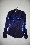 "MBADG #1-060  ""Roughrider Blue Satin One Of A Kind Hand Beaded Western Shirt"""
