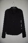 "**MBADG #11-102  ""Express Stitch Black Button Front Blouse"""