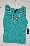 "MBADG #55-173  ""J.A.C. Fancy Green Knit Embelished Top"""