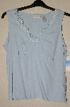 "MBADG #55-207  ""Liz Claiborne Blue Silk Top With Lace Trim"""