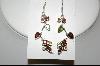 +MBA #7655  Garnet, Peridot & Topaz Dangle Pierced Earrings