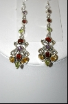 +MBA #7658  Beautiful Multi Gemstone Dangle Pierced Earrings