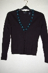 "MBADG #55-028  ""Moda Black One Of A Kind Hand Beaded Stretch Cardigan"""