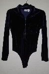 "MBADG #55-168  ""Newport News Blue Zipper Front Velvet Body Suit"""