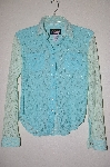 "+MBADG #55-084  ""US Western Fancy Two Tone Blue Lace Stretch Western Shirt"""