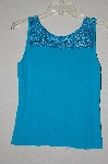 "MBADG #55-139  ""Joseph A. TQ Blue Crochet Top Fancy Knit Tank"""