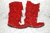 """SOLD""  MBAB #29-373  ""Minnetonka Red Calf High 3-Layer Fringe Boot"""
