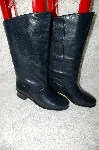 "**MBAB #29-153  ""Markon Black Leather Round Toe Scrunch Boots"""