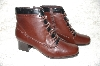 "**MBAB #29-297  ""London Fog Weatherproof Brown Leather Ankle Boots With Sidezip Closure"""