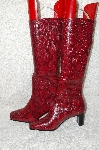 "**MBAB #29-008  ""Naturalizer Uptight Black/Red Snakeskin Print Pull On Boots"""